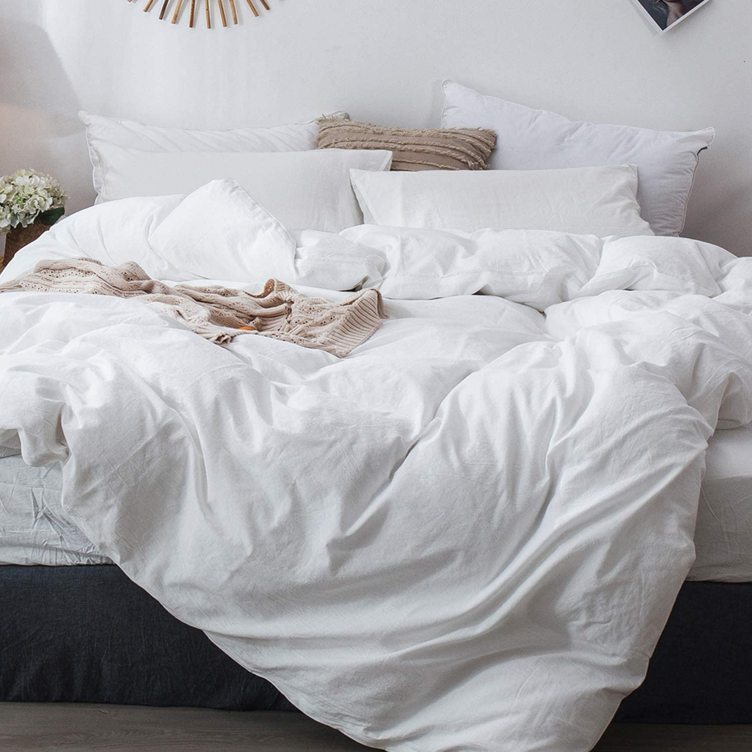 Save $5 on MooMee Duvet Cover Set 100% Washed Cotton Linen