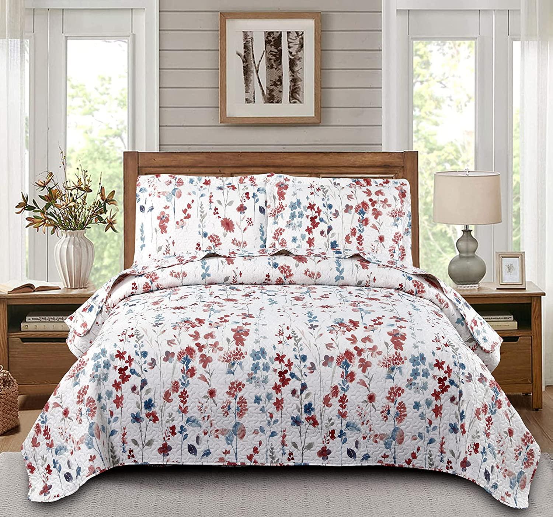 Save $15 + $5 on Floral Quilts Set Lightweight Home Summer Bedspreads