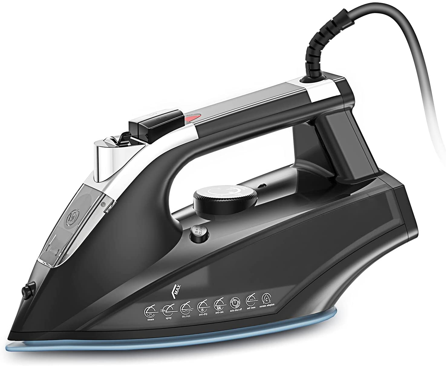 Save 10% on Steam Iron, 1800W Portable Steam-Dry Iron for Clothes